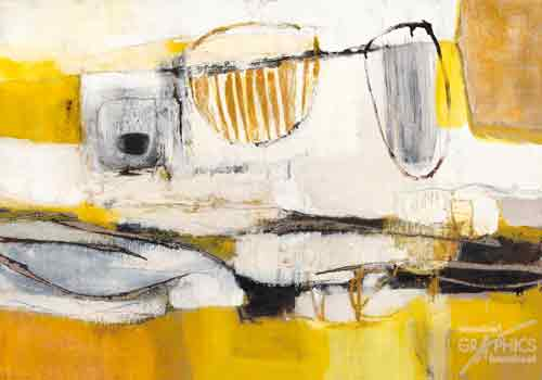 אבסטרקט בצהוב לבן 5אבסטרקט צהוב לבן שחור כתמים צורות גדול