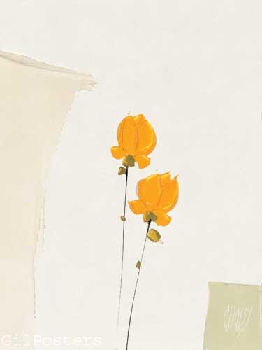 זוג פרחים צהוביםרומנטי עיצוב מודרני מינמליסטי שוואזי ורד שושנה