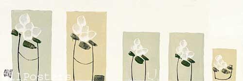 שורה של פרחים לבניםרומנטי עיצוב מודרני מינמליסטי שוואזי ורד