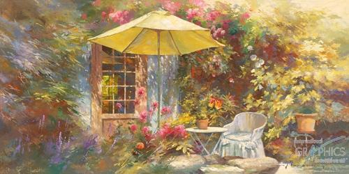 המרפסת של מאריפרובאנס, רומנטי, נוף, חצר, וינטג', אביב, פרחים, צמחיה, אביבי, כיסאות , שולחן, כדים, חופש, מנוחה' , שמשיה צהובה