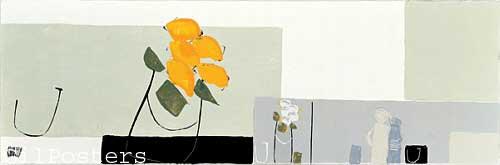 פרחים באבסטרקטרומנטי עיצוב מודרני מינמליסטי שוואזי ורד