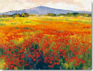פרגים 3שדה פרחים, פרחים אדומים, נוף, ציור, תמונה, אדום, פרג , פרח