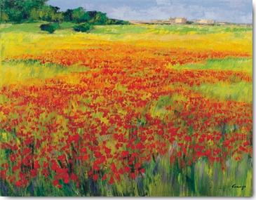 פרגים 4שדה פרחים, פרחים אדומים, נוף, ציור, תמונה, אדום, פרג , פרח