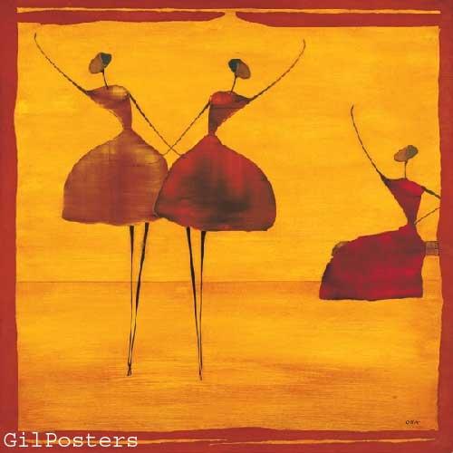 Iשתיים ואחתאתני כתום אונה זוג רקדניות אדום חום