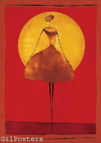 עם השמשאתני כתום אונה רקדנית אדום חום צהוב שמלה