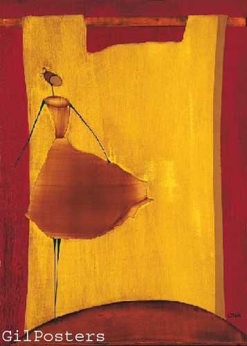 אתני כתום אונה רקדנית אדום חום צהוב שמלה
