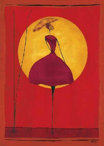 שמלה אדומה בשמשאתני כתום אונה רקדנית אדום חום צהוב שמלה