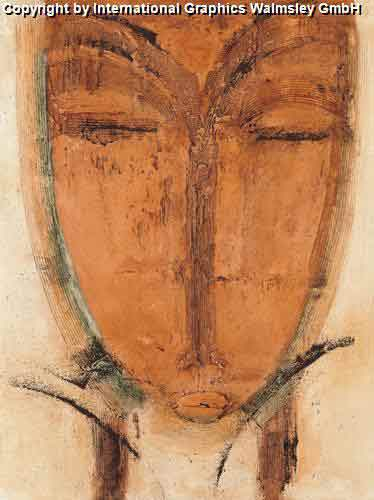 פנים אתניות 2פרצוף פסל עיצוב כתום חום