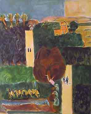 נחום גוטמן - פרדסים ביפו - ליתוגרפיהאומן ציור נאיבי ארץ ישראלית כחול נמל יפו סירות עצים תפוזים בתים תל אביב ליטוגרפיה