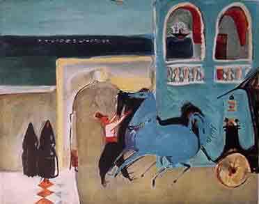 נחום גוטמן - מלון בלה ויסטה - ליתוגרפיהאומן ציור נאיבי ארץ ישראלית כחול נמל יפו סירות  תפוזים בתים תל אביב ליטוגרפיה