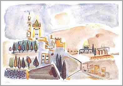 נחום גוטמן - ירושלים - ליתוגרפיהאומן ציור נאיבי ארץ ישראלית עצים  בתים נוף תל אביב ליטוגרפיה