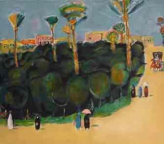 נחום גוטמן - גן תמרים - ליתוגרפיהאומן ציור נאיבי עצים פרדסים ארץ ישראלית דקלים כחול יפו בתים תל אביב