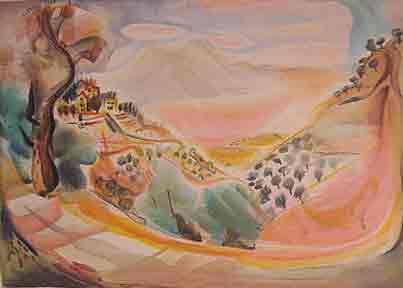 נחום גוטמן - נוף גלילי- ליתוגרפיהאומן ציור נאיבי עצים פרדסים ארץ ישראלית דקלים כחול יפו בתים תל אביב