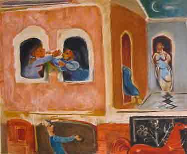 נחום גוטמן - ריב שכנות - ליתוגרפיהאומן ציור נאיבי  פרדסים ארץ ישראלית יפו בתים שכנים נשים תל אביב