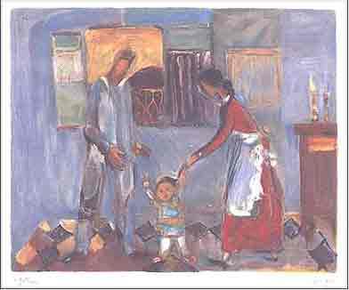 נחום גוטמן - המשפחה - ליתוגרפיהאומן ציור נאיבי  פרדסים ארץ ישראלית יפו בתים שכנים אנשים תל אביב מישפחה ליטוגרפיה
