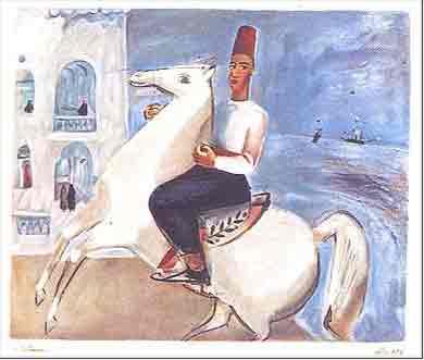 נחום גוטמן - הפרש הלבן - ליתוגרפיהאומן ציור נאיבי סמטאות פרדסים ארץ ישראלית יפו בתים  רוכב סוס שכנים אנשים תל אביב מישפחה ליטוגרפיה