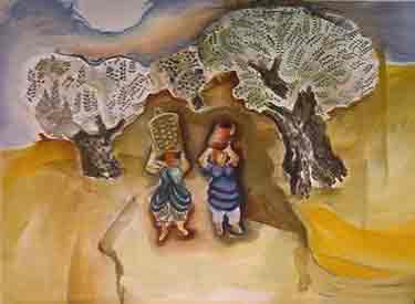 נחום גוטמן - מוסקי זיתים - ליתוגרפיהמחווה לאומן ציור נאיבי ארץ ישראלית  צבע פרדס עצים