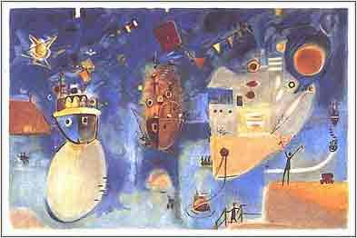 מחווה לאומן ציור נאיבי ארץ ישראלית  יפו סירות אניה