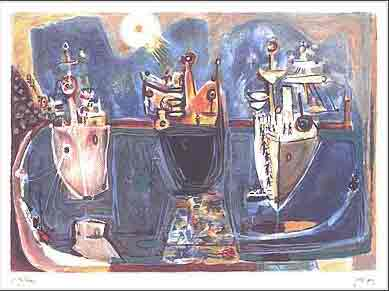 נחום גוטמן - אניות בנמל חיפה- ליתוגרפיהאומן ציור נאיבי ארץ ישראלית  שלוש כחול יפו סירות אניה בתים תל אביב