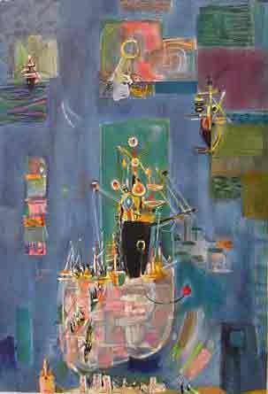 נחום גוטמן - אוניות כחולות- ליתוגרפיהאומן ציור נאיבי ארץ ישראלית כחול נמל יפו סירות אניה אניות בתים תל אביב ליטוגרפיה