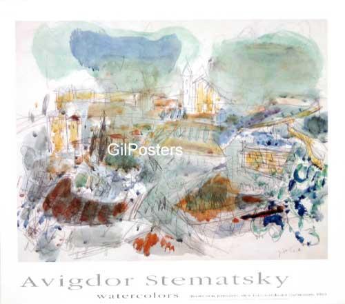 אביגדור סטימצקי - הר ציון  אמנות יהודית ישראלית מוזיאון תל אביב לאמנות בתים נוף