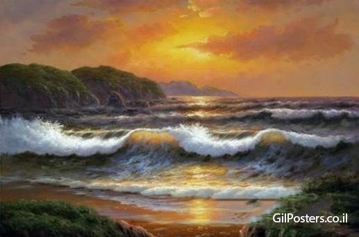 גלים וים 2  - תמונת שמן על בדגלים וים 2   - תמונת שמן על בד