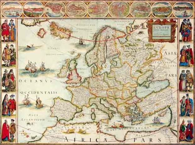 מפת אירופה עתיקה - מוכנה לתליה על קנבס מתוחמפות ישנות עתיקות מפות ישנות  מפת עולם עתיקה