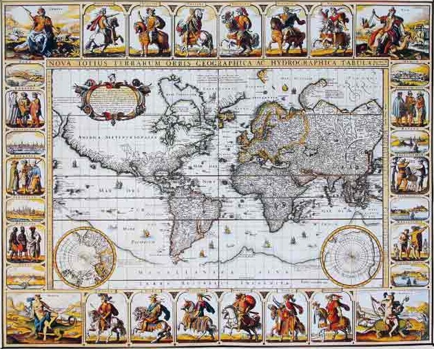מפת עולם עתיקה - מוכנה לתליה על קנבס מתוחמפות ישנות עתיקות   מפת עולם עתיקה