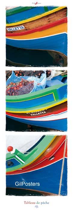 ספינת דייגיםדייג דגים אוירה ים צהוב כחול אדום צבעוני רשת