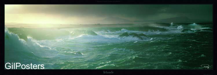 אירלנדים סוער סערה ערב גל גלים כחולים שמים קודרים