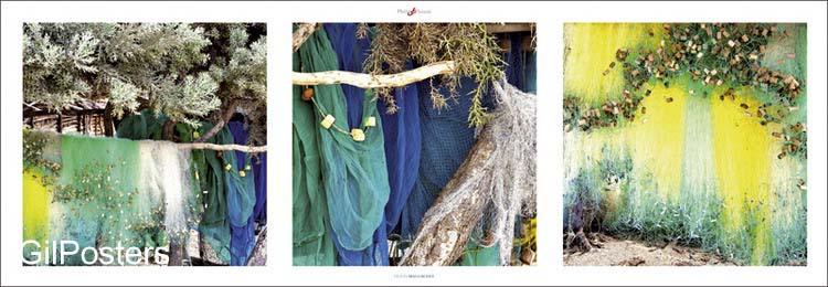 רשתות צבעוניותרשת דייגים צבע כחול צהוב ירוק אוירה