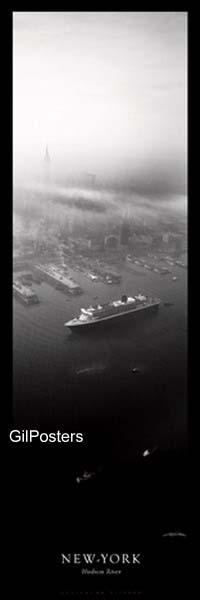 ניו יורקשחור לבן נהר יאכטה ספינה ניו יורק ערפל