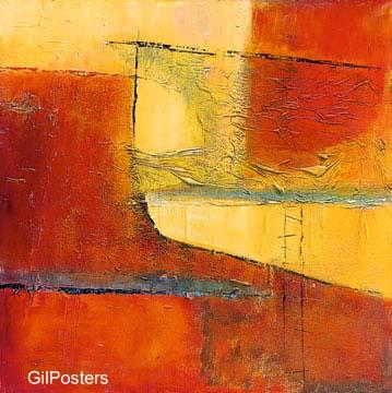 דקורציה קישוט חדר אוכל סלון ציור מודרני מופשט צבעוני כתום חום