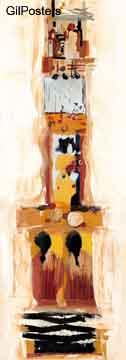 דמויות אתניות 2מופשט כתום צהוב אבסטרקטי מודרני צלליות קו גוף פיגורטיבי
