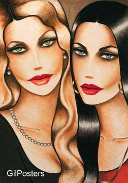זוג חברות פנים אישה עיניים דקורציה קישוט חדר אוכל סלון ציור מודרני מופשט צבעוני כחול