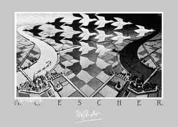 אשר - יום ולילהיחסיות מדרגות בית רפלקציה הכפלה שחור לבן מעגליות פאזל Escher ציפורים אווזים
