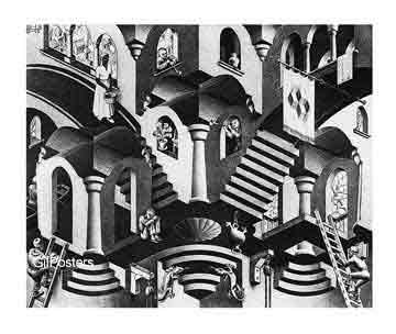 יחסיות מדרגות בית רפלקציה הכפלה שחור לבן מעגליות פאזל Escher  פרטים