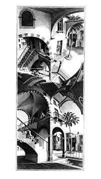אשר - מעלה ומטהיחסיות מדרגות בית קומות רפלקציה הכפלה שחור לבן מעגליות פאזל Escher  פרטים