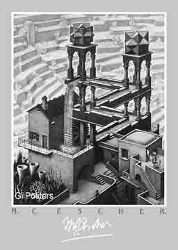 יחסיות מדרגות בית קומות רפלקציה הכפלה שחור לבן מעגליות פאזל Escher  פרטים מים מגדל
