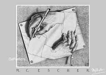 אשר - ידיים מציירותיחסיות מדרגות בית קומות רפלקציה הכפלה שחור לבן מעגליות פאזל Escher  פרטים ציור