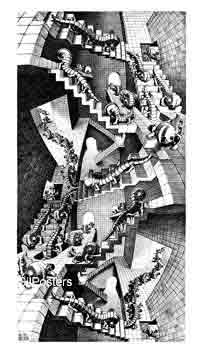 אשר - סוריאליזםיחסיות מדרגות בית קומות רפלקציה הכפלה שחור לבן מעגליות פאזל Escher  פרטים ציור