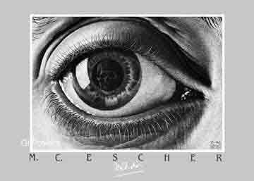 אשר - מיםיחסיות מדרגות בית קומות רפלקציה הכפלה שחור לבן מעגליות פאזל Escher  פרטים ציור עין דמעה