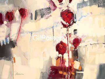 אפור אדום פרח מופשט לבן מיוחד לכה זוג