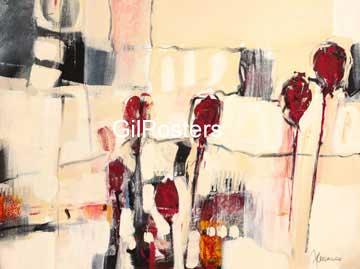 טוליפים 2אפור אדום פרח מופשט לבן מיוחד לכה זוג