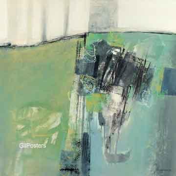 מופשט ירוק אפור אבסטרקטי מודרני כתם צבע כתמים