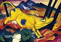 פראנץ מארק -הפרה הצהובה  פרה בעלי חיים ציור יפה