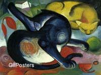פראנץ מארק- שני החתולים כחול וצהוב בעלי חיים חיות ציור יפה