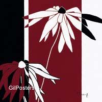 חרציתפרחים דקורציה עיצוב+הבית קו נקי אדום שחור לבן
