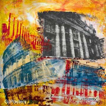 רומא- איטליהצבעוני מודרני כתום כתמי צבע מכוניות רחוב עיר מגדל קולוסיאום עתיק