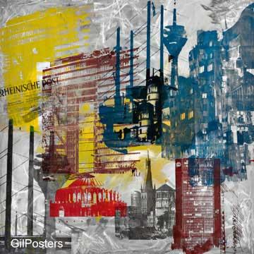 החומה- גרמניהצבעוני מודרני  כתמי צבע מכוניות רחוב עיר מגדל עתיק